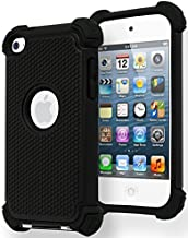 iPod Touch 4 Case, Bastex Hybrid Slim Fit Black Rubber Silicone Cover Hard Plastic Black Shock Case for Apple iPod Touch 4, 4th Generation