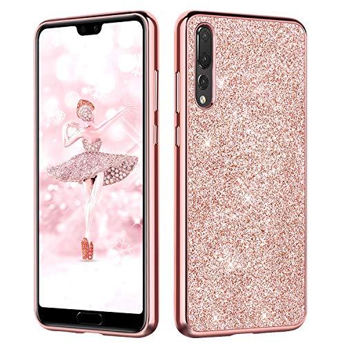 DUEDUE Coque Huawei P20 Pro Rigide Coque de Téléphone P20 Pro Huawei Rose Paillette Mince Fine Glitter, Coque P20 Pro Huawei Fille Femme Silicone Antichoc