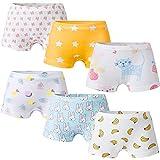 Growth Pal Girls' Panties Boyshort Briefs 6 Pack Soft 100% Cotton Underwear Toddler Undies for Girls-PJ07-5-6X