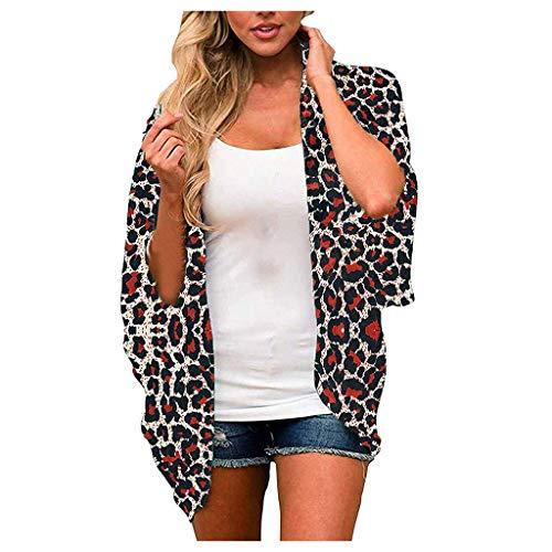 GOKOMO Mode Frauen Leopard/Blumen Chiffon Loose Open Front Cover Up Tops Cardigan(Rot,XX-Large)
