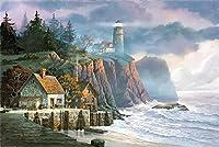 ジグソーパズル子供のための大人のための1000個海辺の灯台パズル教育ゲーム家の装飾パズル(50x75cmカスタマイズ可能な写真)