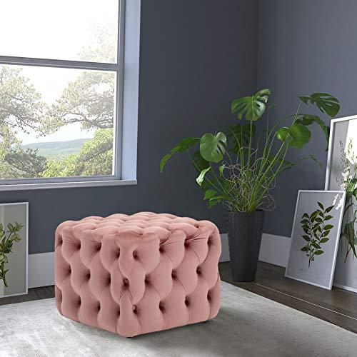 Warmiehomy Chesterfield Couchtisch Fußhocker mit tiefem Knopf aus Samt für Wohnzimmer, Samt, rose, Square 50*50*40