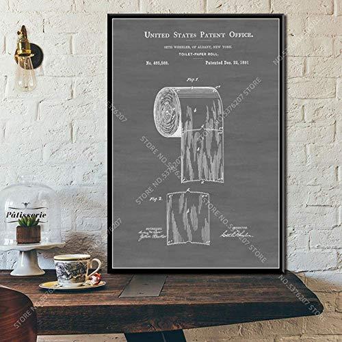 Art Deco Toilettenpapier Patent Badezimmerrolle Toilettenpapier Blaupause Wandkunst Leinwand Seidenplakat 50Cmx70Cm Ohne Rahmen