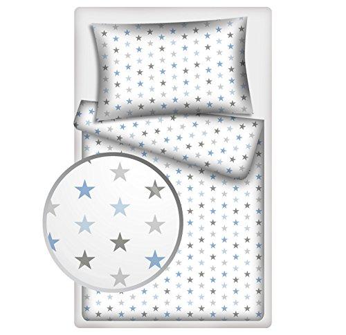 Kinderbettwäsche Stars 2-tlg. 100% Baumwolle 40x60 + 100x135 cm mit Reißverschluss (blau-grau)