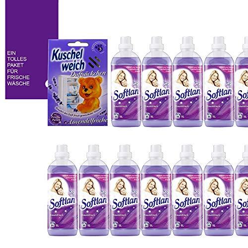 Softlan - Suavizante (12 unidades de 1000 ml, 408 L/aroma maravilloso en un juego)