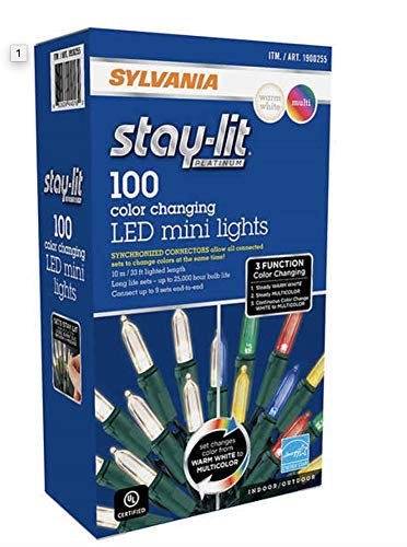 Sylvania Christmas Lights 3-function Color Changing Warm White Multi Color Connectable LED Mini Lights (100 count, 1 Box)
