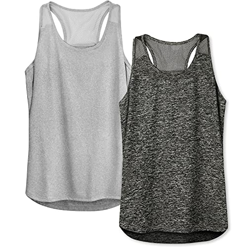 Letsfit 2 Pack Workout Tops for Women, Mesh Racerback Tank Tops Athletic Yoga Sports Shirts Workout Clothes