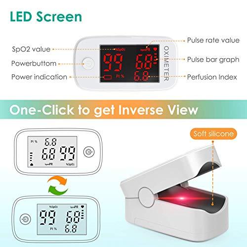 51oeqza5zlL. SL500  - MeaMae Care Oxímetro de pulso Oxímetro de dedo para medir la saturación de oxígeno en la sangre frecuencia del pulso y PI pulsioximetro de dedo profesional con pantalla LED