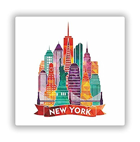 New York City NYC Vinyl Stickers Travel Luggage - 4 INCH Wide Sticker Graphic - Sticks to any smooth surface