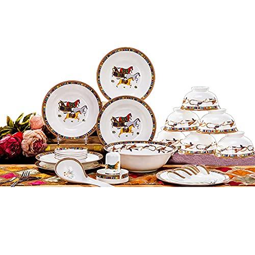 28 stycken Bone China Dinner Set, Porslin Kitchen Round Servis Kombination Set Service för 6 personer med spannmålsskålar Dessertplattor Soppplattor Rätter Mikrovågsugn och ugnssäker