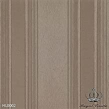 Papel de Parede Coleção  Harmonious Luxury - Royal Castle  (HL0002 - fundo marrom claro, listras verticais em tons de marrom e fêndi com pontos de glitter)
