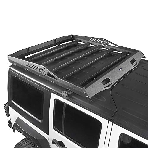 Hooke Road Hard Top Cargo Basket Roof Rack Luggage Carrier Compatible with Jeep Wrangler JK Unlimited 4 Door 2007-2018