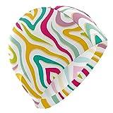 Tcerlcir Gorro Natación Pintura Colorida del Arco Iris Gorro de Piscina para Hombre y Mujer Hecho de Silicona Ideal para Pelo Largo y Corto
