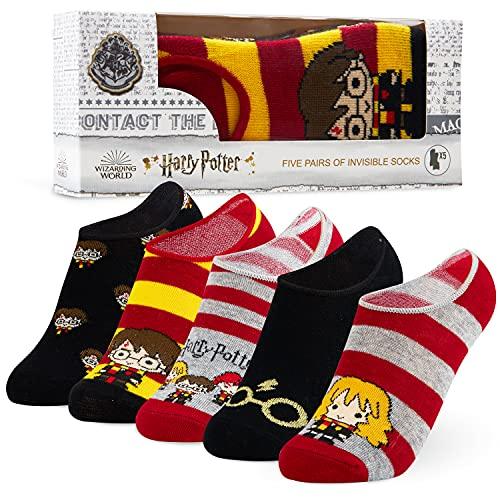 HARRY POTTER Regalos, Calcetines Tobilleros Niño o Niña, Pack de 5 Pares de Calcetines Invisibles Niña, Calcetines Cortos
