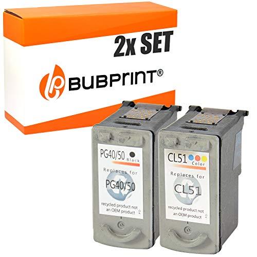 2 Bubprint Druckerpatronen kompatibel für Canon PG-50 CL-51 für Pixma IP2200 MP150 MP160 MP170 MP180 MP450 MP450X MP460 MX300 MX310 Multipack Schwarz und Farbig