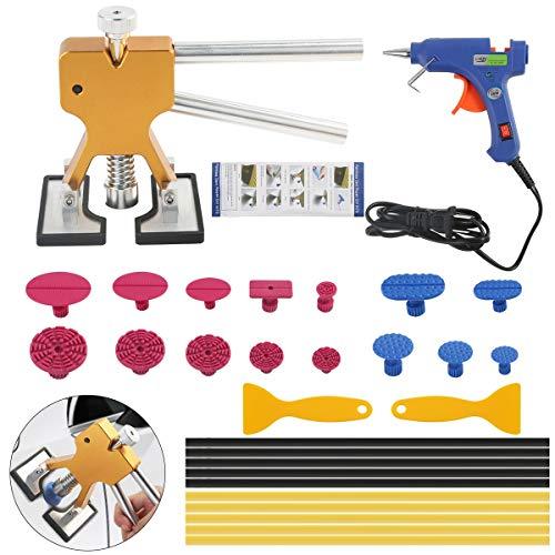 Jinxuny - Kit de reparación de abolladuras de carrocería, herramientas PDR de abolladuras + lengüeta de extracción de abolladuras + pistola de pegamento termofusible + barras...