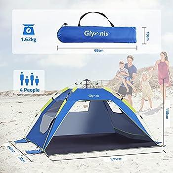 Glymnis Tente de plage pour 3 à 4 personnes ? Protection solaire automatique UPF 50 + anti-UV ? Étanche avec sac de transport pour camping, plage, pique-nique, extérieur, maison, jardin, intérieur
