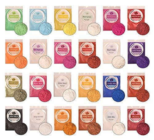 DEWEL 24er Epoxidharz Farbe, Mica Pulver Farbpigmente Epoxidharz Metallic Farbe Resin Farbe Seifenfarbe Set Pigment für Seife Epoxy Epoxydharz Kunstharz Gießharz, Jede Farbe ca. 10g