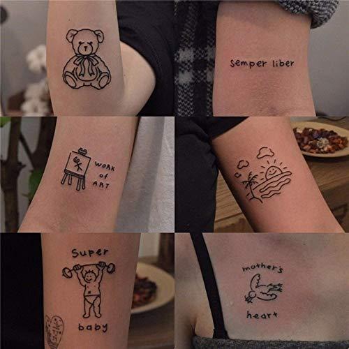 BLOUR 45 Piezas Simple pequeño Fresco Lindo Hombres y niñas Viento Etiqueta engomada del Tatuaje Duradera
