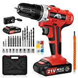 APLMAN 21V MAX Power Cordless Drill Electric Impact Driver/Drill Kit,26pcs Accessories 3/8' All-Metal Chuck 25+1 Torque Setting,2 Variable Speed and LED