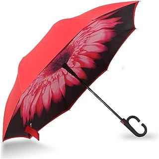 SmartBrella 逆さ傘 傘 晴雨兼用 逆折り式傘 自立傘 長傘 手離れC型手元 耐風 撥水加工 ビジネス用 車用 日焼け対策 UVカット 傘袋/ケース付き【2年品質保証】