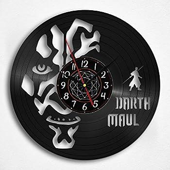 OhMyGifs Darth Maul Vinyl Record Wall Clock- Darth Maul Wall Decor Figure Figuarts Black Decal Adult Men for Kids Gift Gifts Kid Star Wars