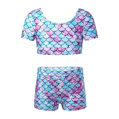 YiZYiF Conjunto de 2 Piezas de Traje Deportivo de Verano para Niñas Top Corto con Manga Corta y Pantalones Cortos para Yoga Gimnasia Escamas Pez 9-10 años