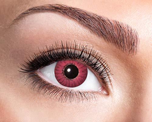 Zoelibat Farbige Kontaktlinsen für 12 Monate, Electro Red, 2 Stück, BC 8.6 mm / DIA 14.5 mm, Jahreslinsen in Markenqualität für Halloween, Fasching, Karneval, rot