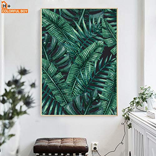 KWzEQ Green leaf plant wall art canvas painting Nordic poster and print wall living room bedroom home decoration-Frameless painting30X40cm