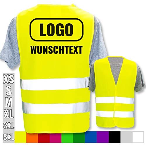 Warnweste mit eigenem Aufdruck selbst gestalten * Bedruckt mit Name Text Bild Logo Firma, Position & Druckart:Rücken/Standard-Druck, Farbe & Größe:Gelb/Größe M