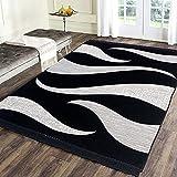 Sparrow World Designer Superfine Exclusive Velvet Carpet | Rug | Living Room | Bedroom | Hall | School | Temple | Bedside Runner | 5 Feet x 7 Feet | - (Black)