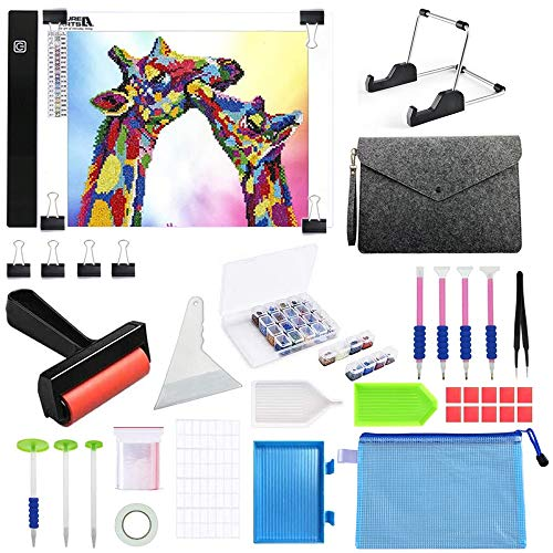 A4 LED Diamond Painting Light Pad Kits,Light Pad kit with Diamond painting accessories tools for Diamond art, Adjustable Brightness with Detachable Stand & Fasten Clips and a Felt Bag for Easy Storage