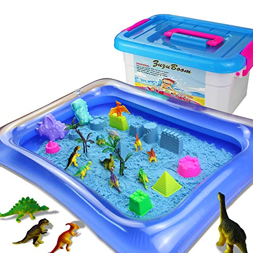 ZUZU BOOM Play Sand Toys and Sand Molds Kit - Set Includes: 2 Pound Play Sand, 42 Pieces Sand Molds, Dinosaur Toys, Inflatable Tray, Storage Box, Castle