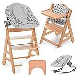 Hauck Alpha Move Newborn Set Premium - Trona evolutiva madera Hamaca bebé recién nacido en algodón, cojín de asiento acolchado y bandeja - natural Nordic Grey