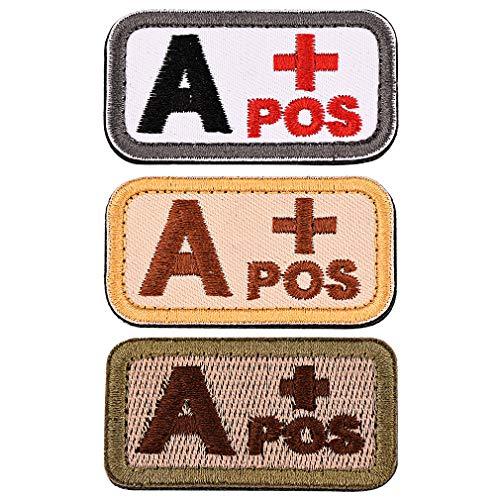 FaithHeart 3 Piezas Parches Apliques Sticker Decorativo Poliéster Bordado para Vaqueros Ropa Camisa Bolsas Gorras Brazal Velcro Rectangular Tipo Sangre A