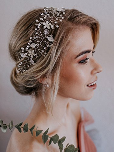 SWEETV Bohemien Haarschmuck Hochzeit Stirnbänder Diadem Tiara mit Perle Kristall, Silber
