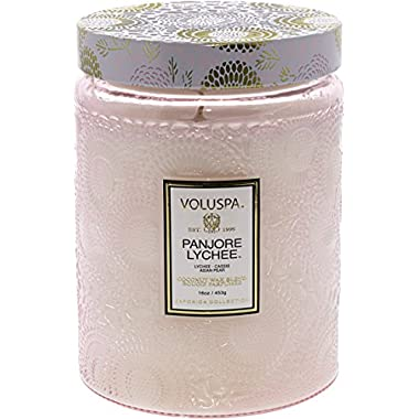 Voluspa Panjoree Lyche Large Glass Jar Candle, 16 Ounce