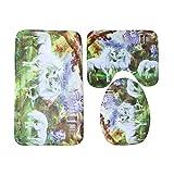 ZHJC Set de alfombras de baño Cuarto de baño Antideslizante WC Tapa Cubierta de Asiento de la Estera de baño de Pedestal Manta Cortina de Ducha Set de baño Set de alfombras Decoración de baño