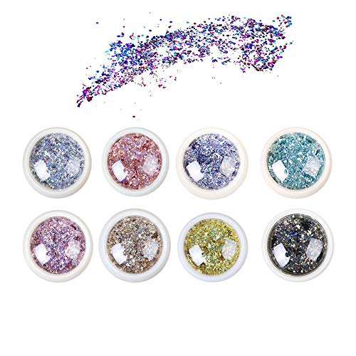 8 Stück Glitzer Make Up Set,Nagel Pailletten,Unregelmäßige Pailletten, Masquerade, Halloween, Party, Weihnachten, Kunst Handwerk, Körperglitzer, Glitzerpulver, Glitzer Sequin, Chunky Glitter