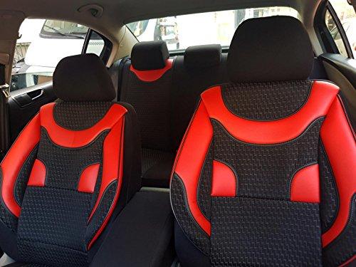 Sitzbezüge k-maniac für Audi A4 B5 Avant | Universal schwarz-rot | Autositzbezüge Set Komplett | Autozubehör Innenraum | NO1720162 | Kfz Tuning | Sitzbezug | Sitzschoner