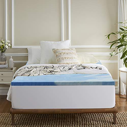 Sleep Innovations 3-inch Gel Memory Foam Mattress Topper, Full, Blue Swirl Delaware