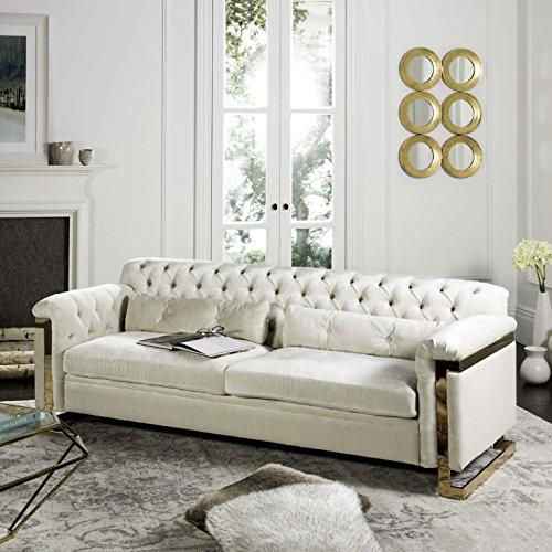 Safavieh Kent Collection Lethbridge White Tufted Velvet Sofa