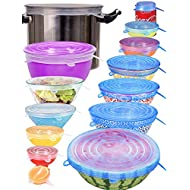 longzon Silicone Stretch Lids Set of 14,Reusable Durable Food Storage Covers for Bowl, 7 Different Sizes to Meet Most Containers, Dishwasher & Freezer Safe