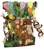 Santoro - Biglietto di auguri 3D interattivo popnrock, motivo: Dress Shop (SPR015) 14,5 x 20 cm Festa di scimmie.