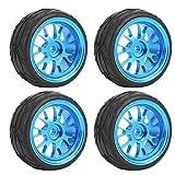 Dilwe Ruota per Auto RC, 1/18 Pneumatici per Cerchi in Metallo Blu a Forma di Y per WL 1/18 A959 A979 A969 Modello di Auto cingolata RC