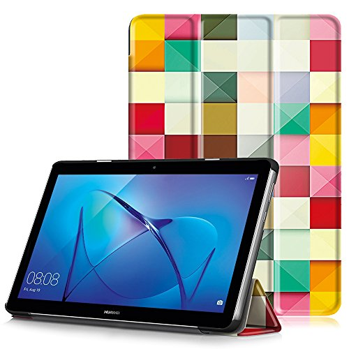 HUAWEI MediaPad T3 10 Cover, Custodia Ultra Sottile e Leggero con Coperture da Supporto per Huawei Mediapad T3 Tablet Display da 10  Modello 2017, Cubo Colorato