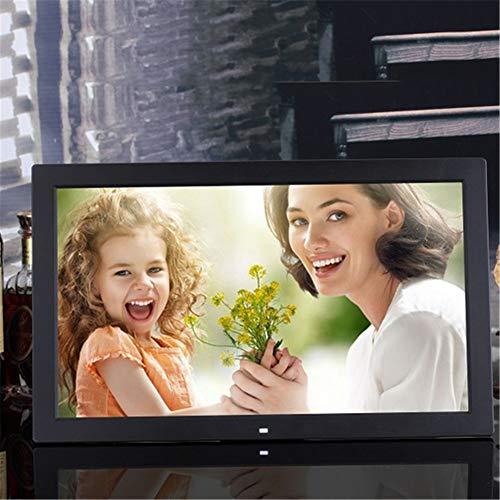 RENYAYA 19 Zoll Digitaler Bilderrahmen 16: 9 Hochauflösendes Werbedisplay MP3 Video Player Kalender Wecker mit Fernbedienung Unterstützt USB SD Karte,Black