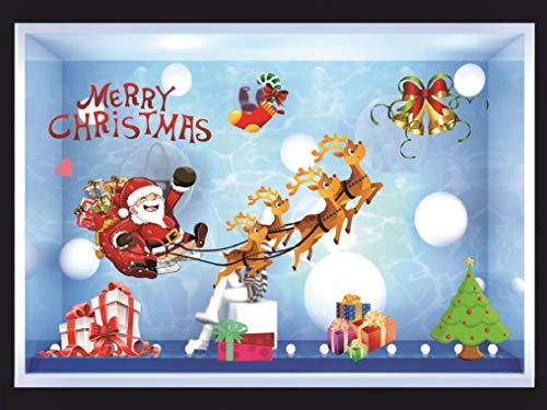 heekpek Weihnachtsdeko Farbiger Weihnachtsmann Elch Aufkleber Weihnachts Fenster Dekoration Aufkleber Glas Geschäft Kaffeestube Schaufenster Haupt dekorations Aufkleber