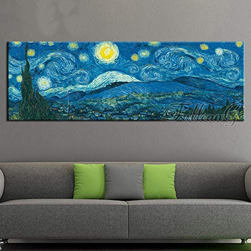 Kit Pintura de Diamante 5D Completo Grande DIY Diamond Painting Bordado Cristal Rhinestone Punto de Cruz Adulto Niño para Hogar Decor de Pared Regalo Noche estrellada de Van Gogh Square drill,40x80cm