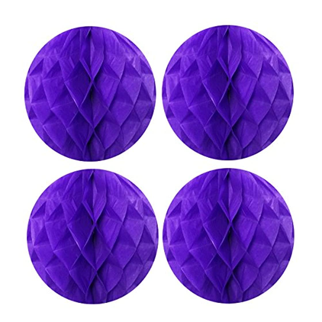 Allydrew Hanging Party Decoration, 8 Inch Tissue Honeycomb Ball for Weddings, Birthday Parties, Baby Showers, and Nursery Décor (4 pack), Purple